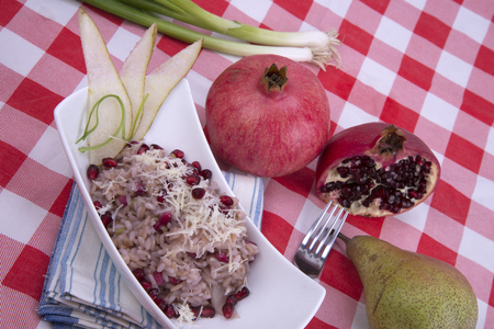 Risotto with pears and pomegranate