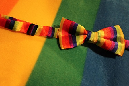 Gay lesbian LGBT rights homosexual pride flag bow tie with rainbow mutlicolor design Standard-Bild
