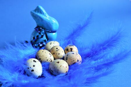 Easter concept. Quail eggs and blue rabbit on blue bird feathers in trendy color on a blue background. Trendy color 2020. Top view. Copy space Reklamní fotografie