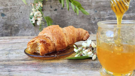 Acacia honey and flowering acacia on wooden table. Acacia honey, acicia flowers, fresh croissant and honey spoon.