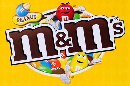 Arad, Romania - March 24, 2012 Peanut MMs logo printed on cardboard Studio shot
