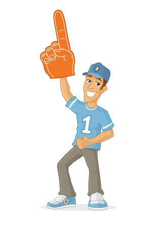 Happy male sports fan rising foam finger in the air cartoon illustration Stock Illustratie