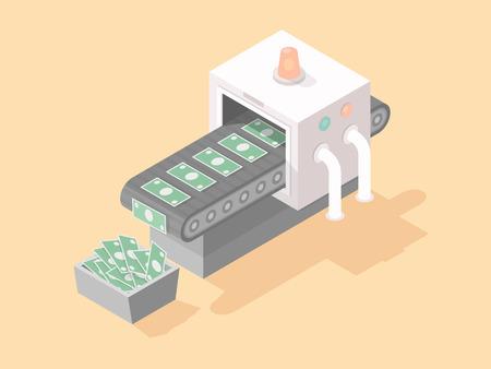 making money: Machine making money isometric illustration in flat style