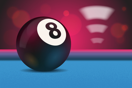 pool game: Eight ball on blue poolbilliard table with bokeh and lights in background illustration Illustration