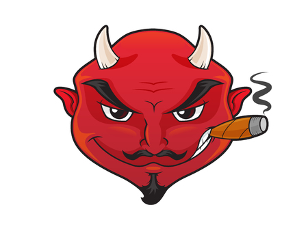 Red devils face with evil grin smoking cigar cartoon illustration