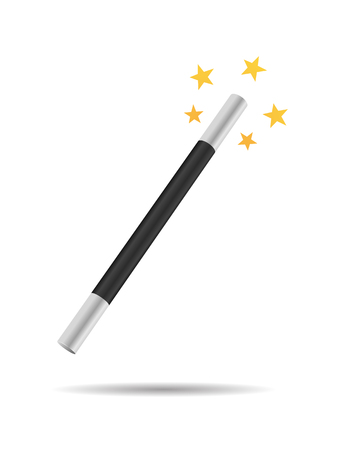 miracles: Magicians magic wand vector illustration isolated on white