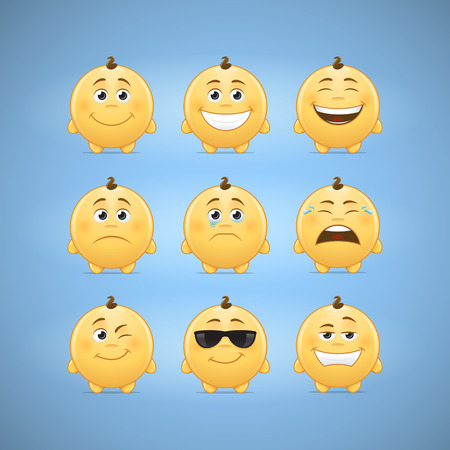 smileys: Emoticons smileys vector illustration - first set