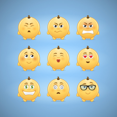 smileys: Emoticons smileys vector illustration - third set Illustration