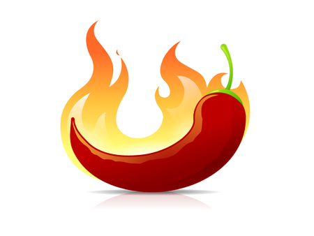 hot pepper: Burning Pepper Illustration
