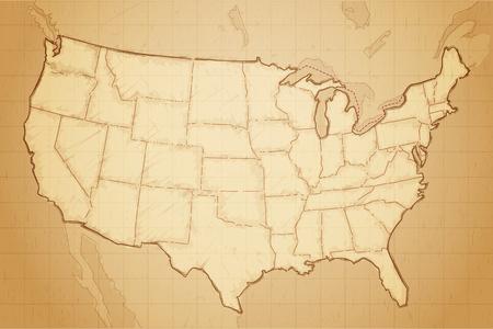 Vereinigte Staaten von Amerika Karte auf im Alter von Papier Vektor-Illustration gezeichnet