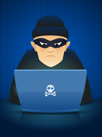 Masked hacker using his computer for cyber crime vector cartoon illustration