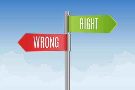 direction signs: Signpost with right and wrong direction signs vector illustration Illustration