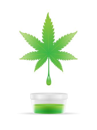 El aceite de cannabis extraer de la ilustración vector de la hoja de marihuana