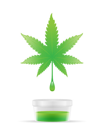 Cannabis oil extracting from marijuana leaf vector illustration
