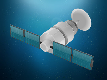 space station: Satellite station in space vector illustration