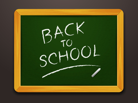 written text: blackboard with chalk and written text back to school Illustration