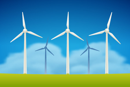 generators: Wind Generators in field vector illustration