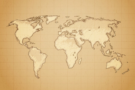aged paper: World map drawn on textured aged paper vector illustration.