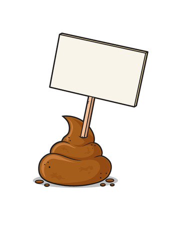 stinky: Poop with blank sign vector cartoon illustration