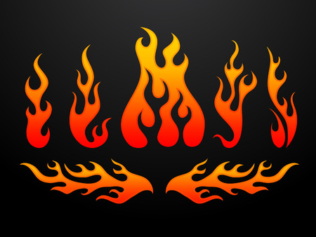 blazing: Tribal fire flames set vector illustration Illustration