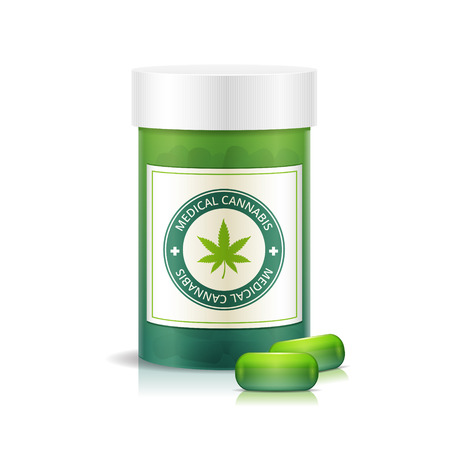 marijuana plant: Pill bottle with medical marijuana pills vector illustration
