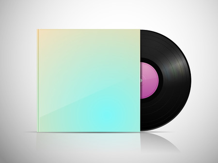 lp: LP vinyl record with blank package Illustration