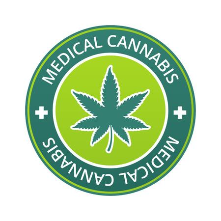 Medical cannabis label with marijuana leaf vector illustration