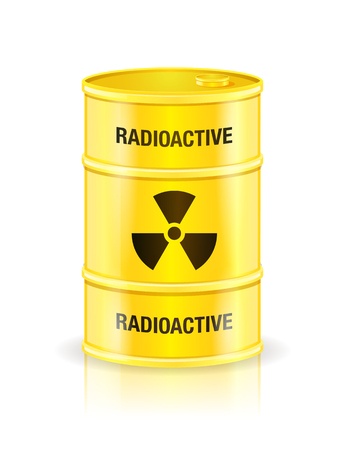 hazardous waste: Yellow waste container with radioactive sign vector illustration isolated on white.