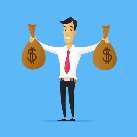 Businessman holding money bags with dollar signs vector cartoon illustration Ilustracja
