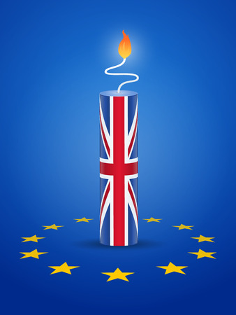 england politics: Brexit concept - firecracker with United kingdom and European Union flag vector illustration