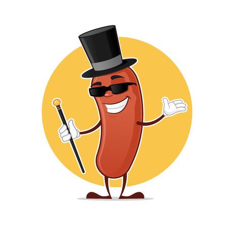Wiener dżentelmenem albo alfonsem animowanych ilustracji wektorowych maskotki