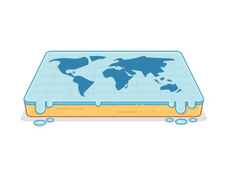 flat earth: Flat earth concept. World map on flat surface vector illustration Illustration