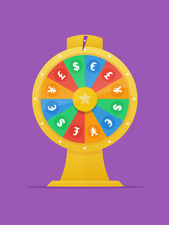 foreign exchange rates: Forex golden wheel of fortune in flat style with dollar,euro, pound and yen currency symbols vector illustration