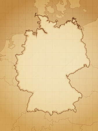Allemagne carte dessinée sur papier vieilli vecteur illustration.