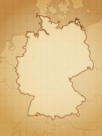 deutchland: Germany map drawn on aged paper vector illustration. Illustration