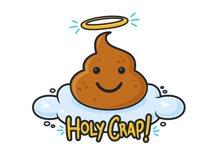 heaven: Poop cartoon character on cloud in heaven with Holy Crap text vector illustration