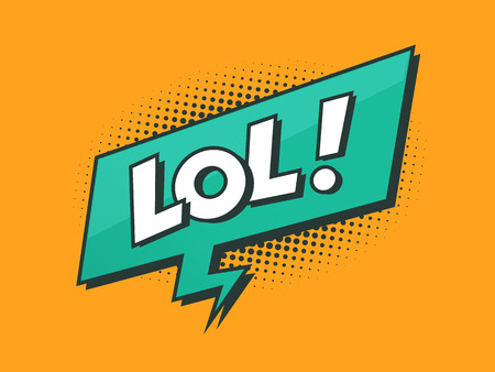 laugh out loud: LOL - Laughing out loud retro styled text with speech bubble with halftone dots vector illustration