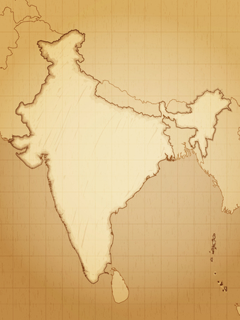 Vintage map of India drawn on aged paper vector illustration.