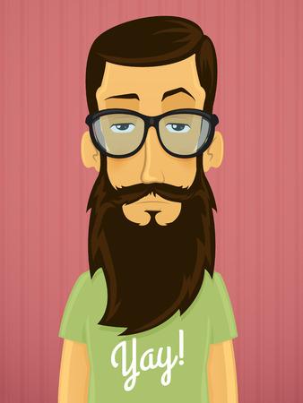 髭と眼鏡のベクトル漫画イラストとハンサムな若いヒップな男  イラスト・ベクター素材