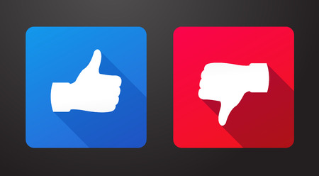 Thumbs up and down flat icons with long shadow vector illustration Ilustrace