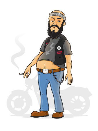 leather coat: Biker standing in front of his motorcycle vector cartoon illustration.