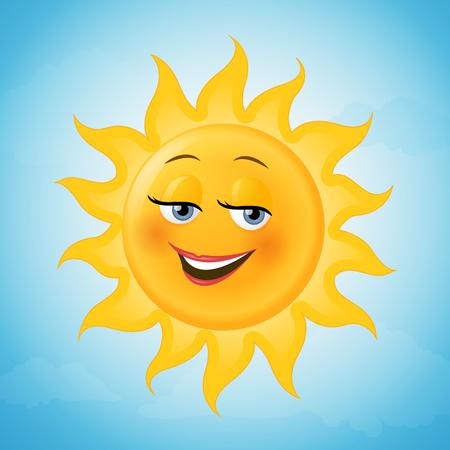 Happy female sun cartoon character vector illustration