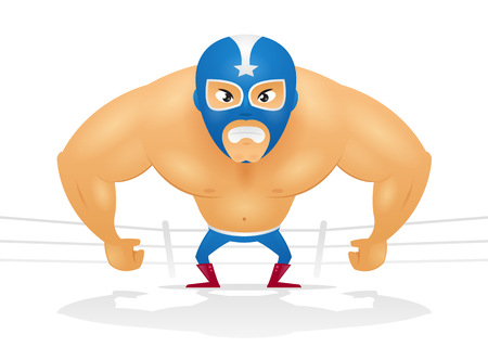 tough man: Angry masked wrestler cartoon illustration