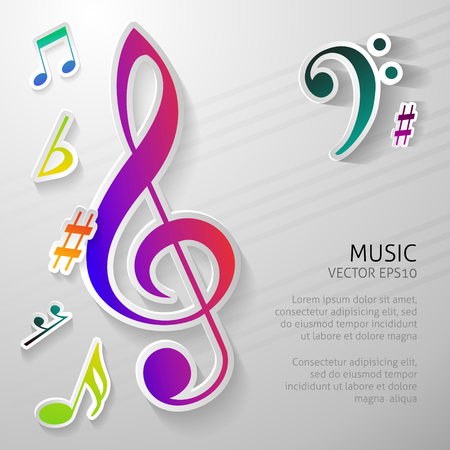Music background with notes vector illustration