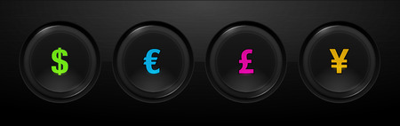 Forex push buttons with currency signs Illustration