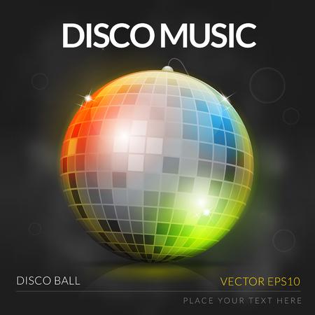 Disco music design with disco ball vector illustration