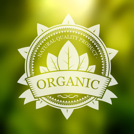 Organic label on a blurred background