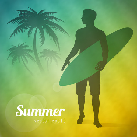 Summer background with surfer and palms vector illustration