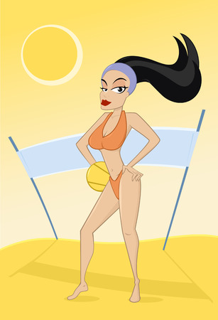 Happy woman playing beach voleyball vector illustration