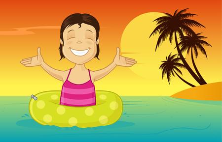 Little girl with inflatable tube enjoying summer vacation on sea vector cartoon illustration